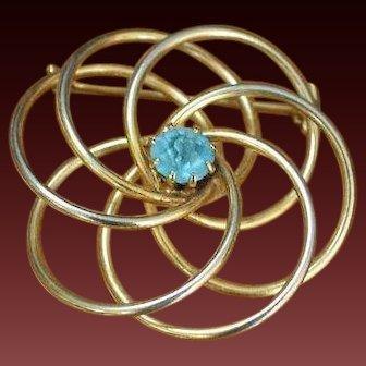 Swirly Rhinestone Brooch Pin