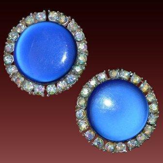 CORO Blue Disc Rhinestone Earrings