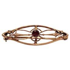 Small Antique Victorian 10k Gold Pin Dark Pink Paste Stone