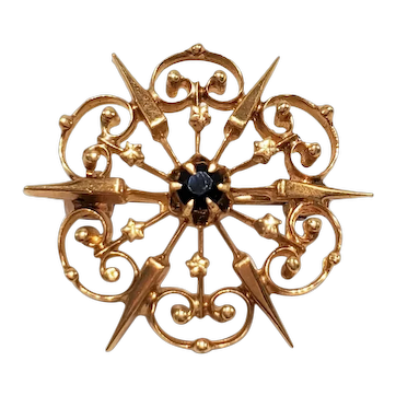 Vintage 14k Starburst Pin w Sapphire Center