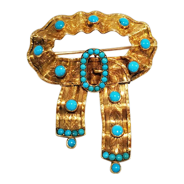 Victorian 18k Gold & Turquoise Ribbon Brooch Pin