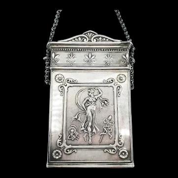 "Antique Coin Silver Card Case ""Lucretia"" Neoclassical"