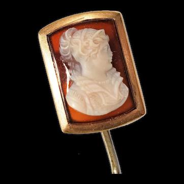 Antique Victorian Stickpin Elizabethan Lady Cameo in 14k Frame