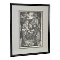 "Mid Century Etching ""Purim Figures"" by Rosin c.1957"