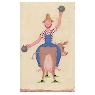 "Vintage Illustration ""Farm Life"" Farmer on Cow c .1960"