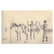 "Vintage Cowboy Illustration ""The Hold Up"" by L.B. Mulligan c.1972"