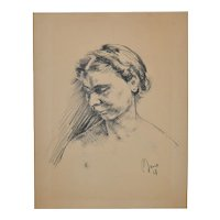 Vintage Charcoal Portrait c.1930's