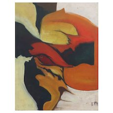 Bold Mid Century Modern Abstract Oil Painting by Epa C.1970