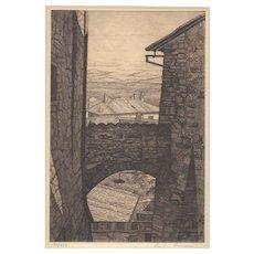 Luigi Lucioni (1900-1988) Italian Etching c.1940's