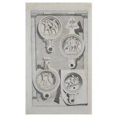 19th Century Engraving - Roman Oil Lamps