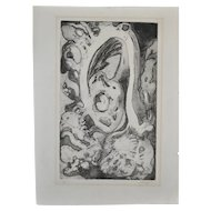 Vintage Abstract Etching w/ Aquatint by Knapp c.1977