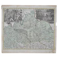 18th Century Hand Colored Map c.1700