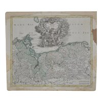 18th Century Hand Colored Pomerania Map c.1718