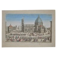 18th to 19th Century Hand Colored Panorama of Florence, Italy