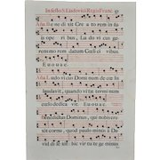 18th Century Two Sided Antiphonal Music Sheet