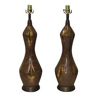Pair of Mid Century Gilded Glaze Ceramic Table Lamps c.1950