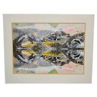 Hilda Pertha Vintage Abstract Painting c.1974
