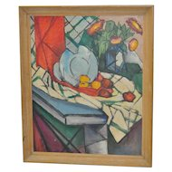 Vintage Mid Modern Abstract Still Life Painting c.1950's