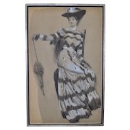Victorian Pastel Portrait - Woman with Umbrella c.1890's by JF Ullrich