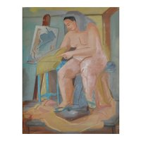 Vintage Figurative Nude Oil Painting by Nancy Larsen c.1940's
