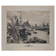The Free Port of Copenhagen Engraving c.1919