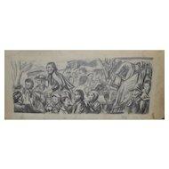 Boris Deutsch (1892-1978) WPA Mural Study c.1930's