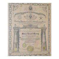 House of  Solomon's Masonic Certificate c.1917