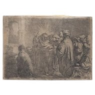 """Old Master Etching - Rembrandt's """"The Tribute Money"""" c.1635"""