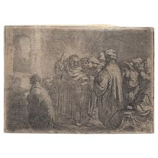 "Old Master Etching - Rembrandt's ""The Tribute Money"" c.1635"