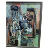 Mid Century Oil Painting by Jon CORNIN - Abstract Expressionism c.1950's