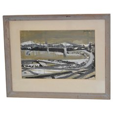 Mid Century Abstract Cityscape w/ Bridge by John Bernhardt c.1950's