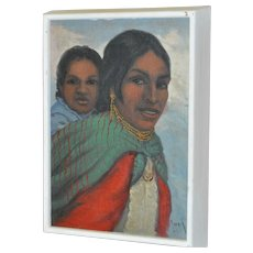 Vintage Oil Painting Woman with Child c.1960's