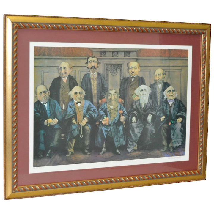 CHARLES BRAGG Hand Signed Limited Edition Lithograph COURT SUPREME JUDGES