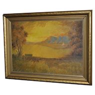 Vintage California Sunset Oil Painting c.1950