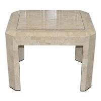Maitland Smith Marble & Brass Inlay Side Table c.1980