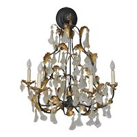 Vintage Molded Glass & Gilded Iron Leaves Chandelier 1940s