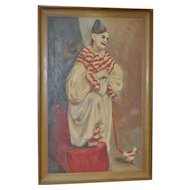 Vintage Clown Painting by Mary Pedri c.1940s