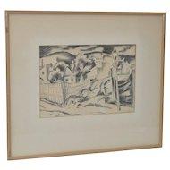 Bela Kadar (1877-1956) Original Charcoal on Paper c.1930