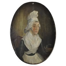18th Century American Colonial Woman Oil Portrait