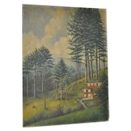 """Edith J Young Oil Painting """"March Hillside"""" c.1900"""