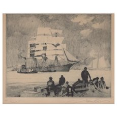 "Gordon Grant ""Home Port"" Lithograph c.19"