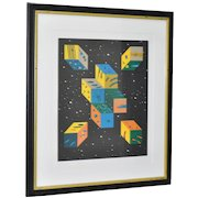 Brilliant Abstract Serigraph by Mystery Artist