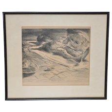 "Lovis Corinth (German, 1859-1925) Rare Etching ""PIETA"" c.1920"