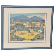 Louie Ewing (1908-1983) New Mexico Landscape Serigraph 1940s