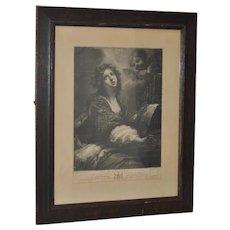 "18th Century Engraving ""St. Cecilia"" c.1794"