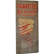 Vintage Cigarette Advertising Sign on Metal c.1950