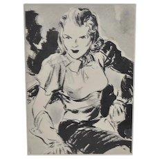 Original Pen & Ink Pulp Illustration by Duncan Coburn c.1940s