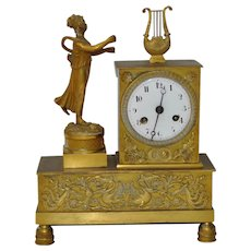 French Bronze Mantle Clock w/ Lady Statue c.1840s