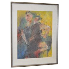 Asian Figural Abstract Pastel