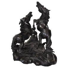 Magnificent Wild Horses Black Marble Sculpture